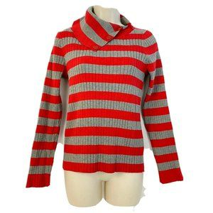 Vintage Liz Claiborne Sweater L Red Gray Striped